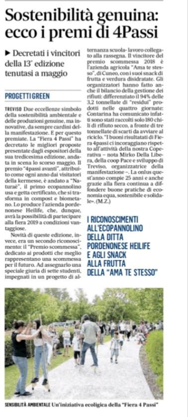 Gazzettino - Premio 4passi avanti #premio4passiavanti